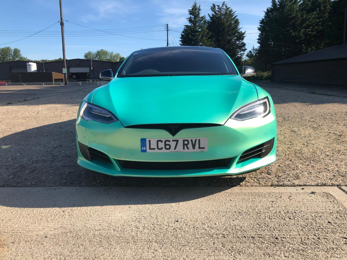 Black Tesla Model S - front grill de-chromed and fog lights tinted